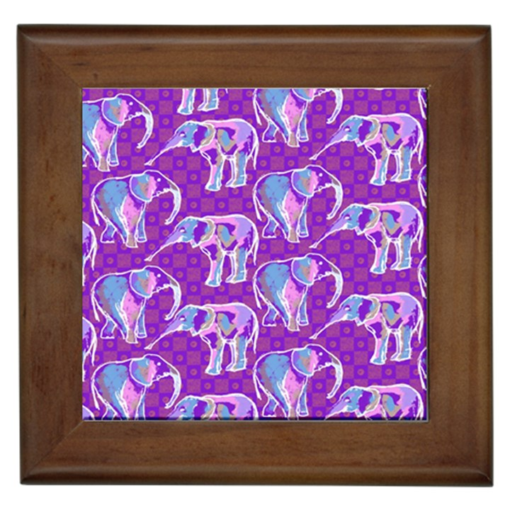 Cute Violet Elephants Pattern Framed Tiles
