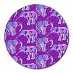 Cute Violet Elephants Pattern Round Mousepads Front