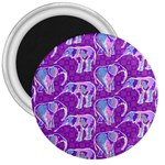 Cute Violet Elephants Pattern 3  Magnets Front