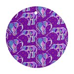 Cute Violet Elephants Pattern Ornament (Round)  Front