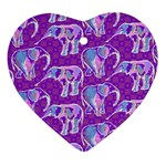 Cute Violet Elephants Pattern Ornament (Heart)  Front