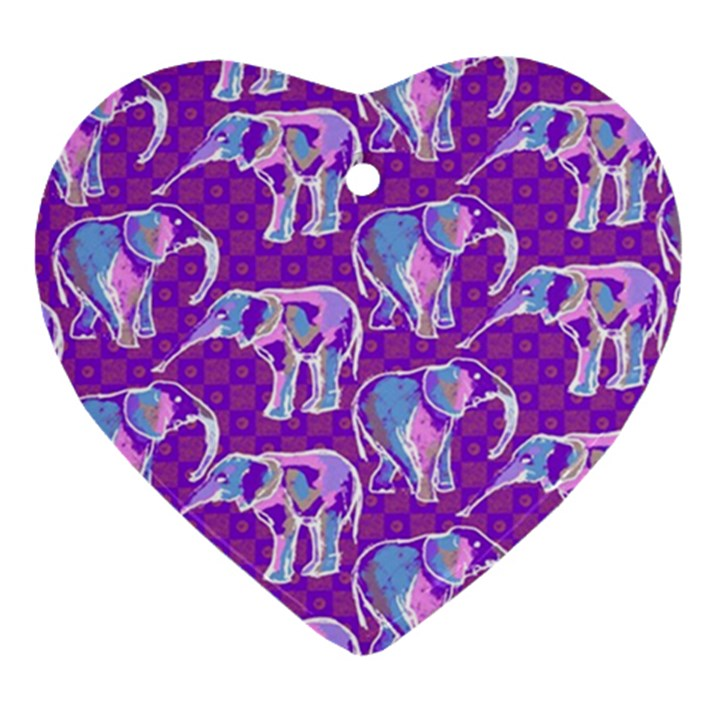 Cute Violet Elephants Pattern Ornament (Heart)