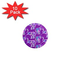 Cute Violet Elephants Pattern 1  Mini Magnet (10 Pack)