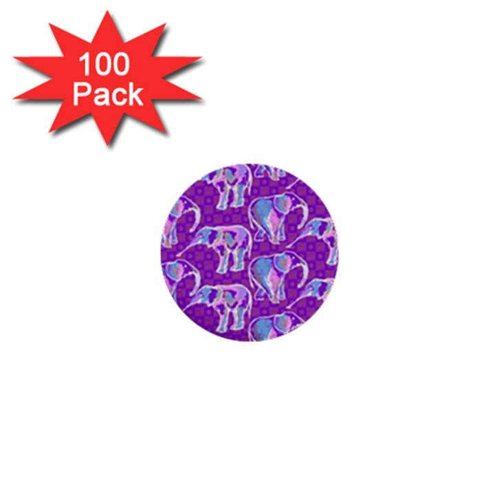 Cute Violet Elephants Pattern 1  Mini Buttons (100 pack)