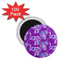 Cute Violet Elephants Pattern 1.75  Magnets (100 pack)  Front