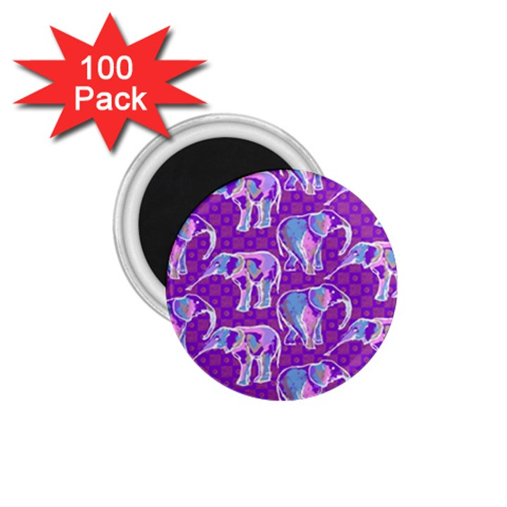 Cute Violet Elephants Pattern 1.75  Magnets (100 pack)