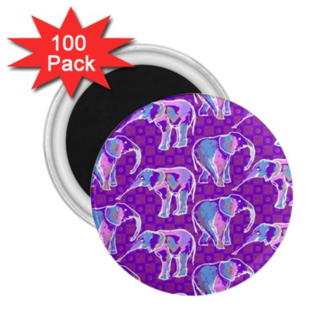 Cute Violet Elephants Pattern 2.25  Magnets (100 pack)