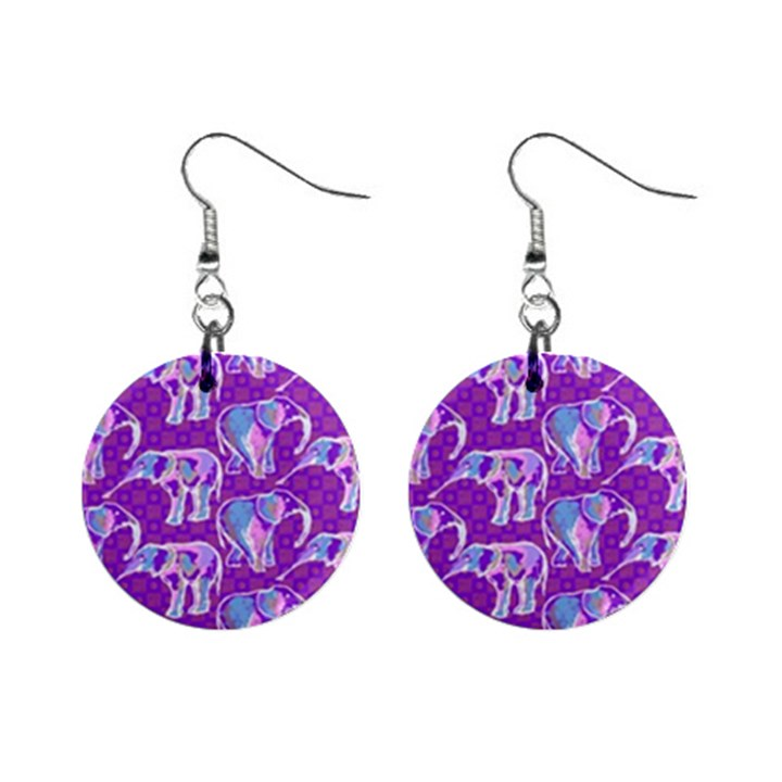 Cute Violet Elephants Pattern Mini Button Earrings