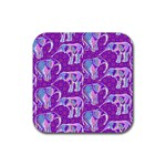 Cute Violet Elephants Pattern Rubber Coaster (Square)  Front