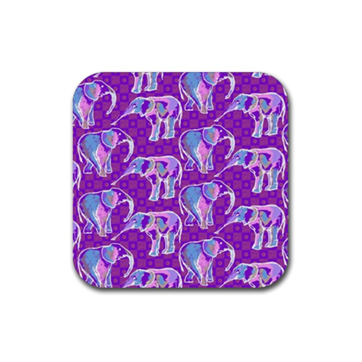 Cute Violet Elephants Pattern Rubber Coaster (Square)