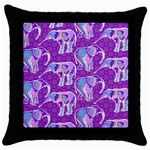 Cute Violet Elephants Pattern Throw Pillow Case (Black) Front