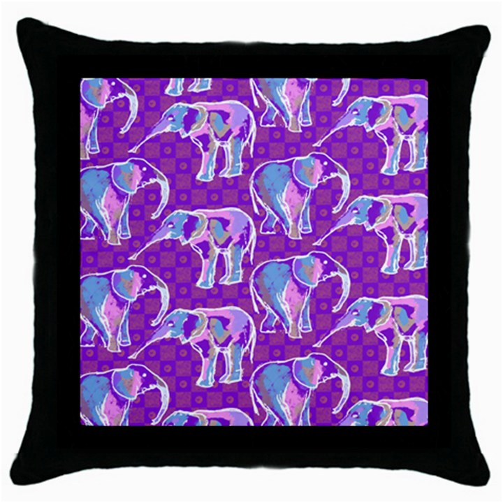 Cute Violet Elephants Pattern Throw Pillow Case (Black)
