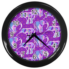 Cute Violet Elephants Pattern Wall Clocks (black)