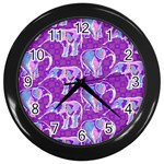 Cute Violet Elephants Pattern Wall Clocks (Black) Front
