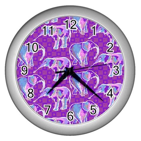Cute Violet Elephants Pattern Wall Clocks (Silver)