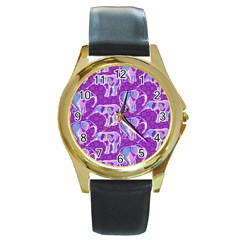 Cute Violet Elephants Pattern Round Gold Metal Watch