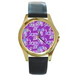 Cute Violet Elephants Pattern Round Gold Metal Watch Front