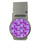 Cute Violet Elephants Pattern Money Clips (Round)  Front