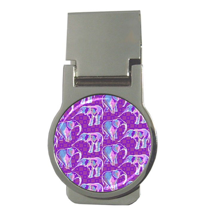 Cute Violet Elephants Pattern Money Clips (Round)