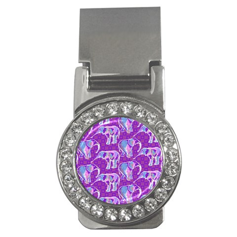 Cute Violet Elephants Pattern Money Clips (CZ)
