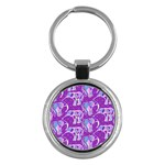 Cute Violet Elephants Pattern Key Chains (Round)  Front