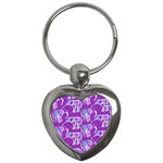 Cute Violet Elephants Pattern Key Chains (Heart)  Front