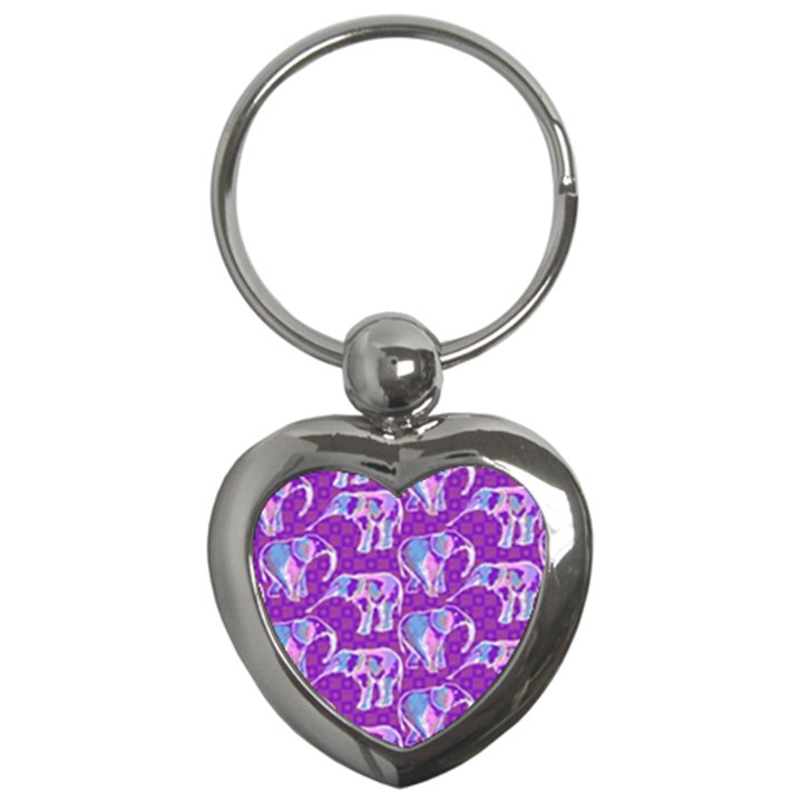 Cute Violet Elephants Pattern Key Chains (Heart)