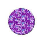 Cute Violet Elephants Pattern Rubber Round Coaster (4 pack)  Front