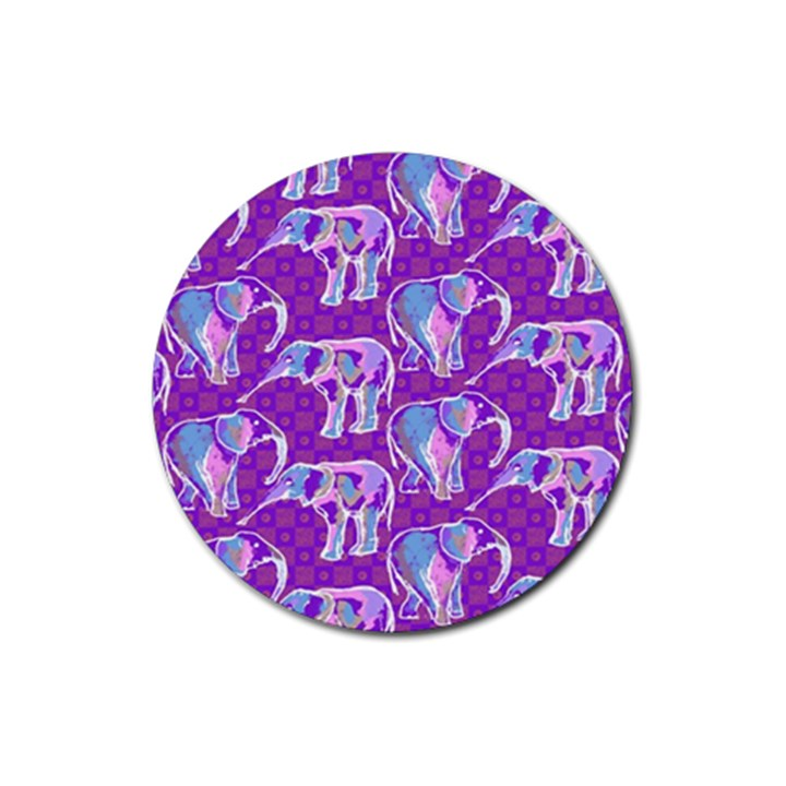 Cute Violet Elephants Pattern Rubber Round Coaster (4 pack)