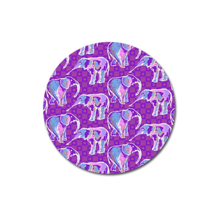 Cute Violet Elephants Pattern Magnet 3  (Round)