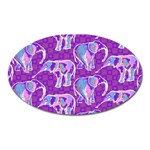 Cute Violet Elephants Pattern Oval Magnet Front