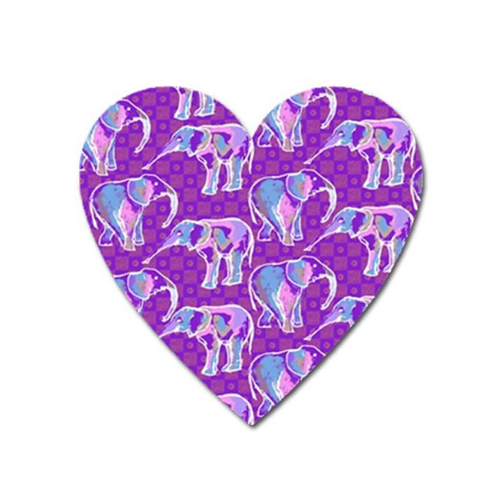 Cute Violet Elephants Pattern Heart Magnet