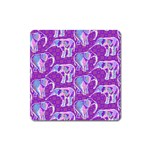 Cute Violet Elephants Pattern Square Magnet Front