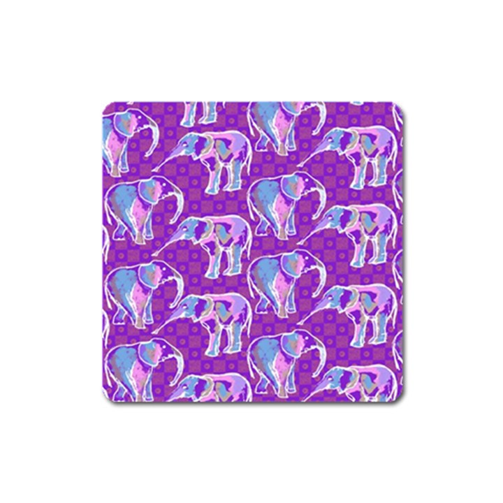 Cute Violet Elephants Pattern Square Magnet