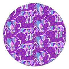 Cute Violet Elephants Pattern Magnet 5  (Round)