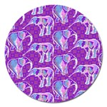Cute Violet Elephants Pattern Magnet 5  (Round) Front