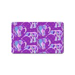 Cute Violet Elephants Pattern Magnet (Name Card) Front