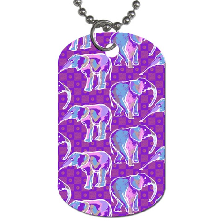 Cute Violet Elephants Pattern Dog Tag (One Side)