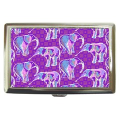 Cute Violet Elephants Pattern Cigarette Money Cases