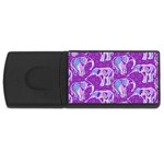 Cute Violet Elephants Pattern USB Flash Drive Rectangular (1 GB)  Front