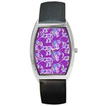 Cute Violet Elephants Pattern Barrel Style Metal Watch Front