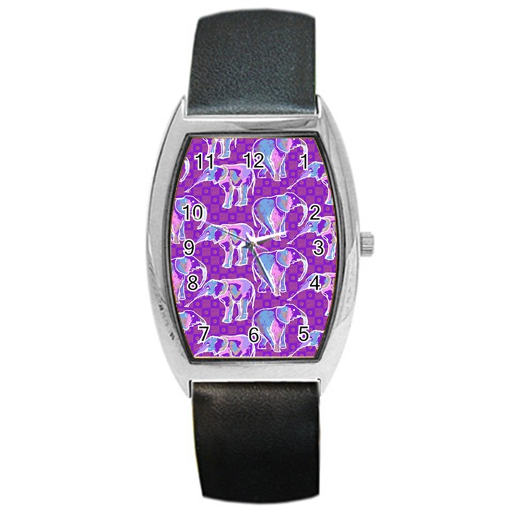 Cute Violet Elephants Pattern Barrel Style Metal Watch