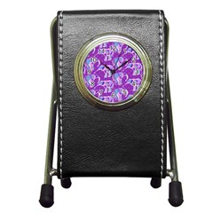 Cute Violet Elephants Pattern Pen Holder Desk Clocks