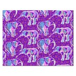 Cute Violet Elephants Pattern Rectangular Jigsaw Puzzl Front