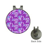Cute Violet Elephants Pattern Hat Clips with Golf Markers Front