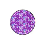 Cute Violet Elephants Pattern Hat Clip Ball Marker (4 pack) Front