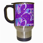 Cute Violet Elephants Pattern Travel Mugs (White) Left