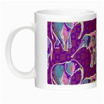 Cute Violet Elephants Pattern Night Luminous Mugs Left