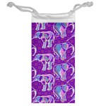 Cute Violet Elephants Pattern Jewelry Bags Back