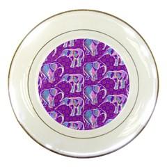 Cute Violet Elephants Pattern Porcelain Plates